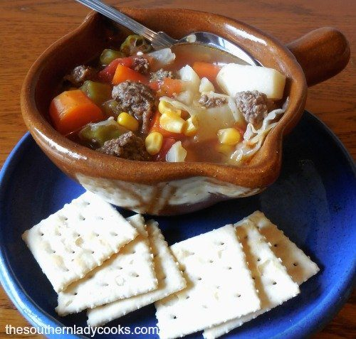 HAMBURGER VEGETABLE SOUP - The Southern Lady Cooks