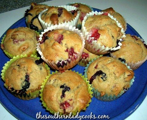 STRAWBERRY, BANANA, AND BLUEBERRY MUFFINS