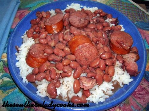 RED BEANS, SMOKED SAUSAGE AND RICE