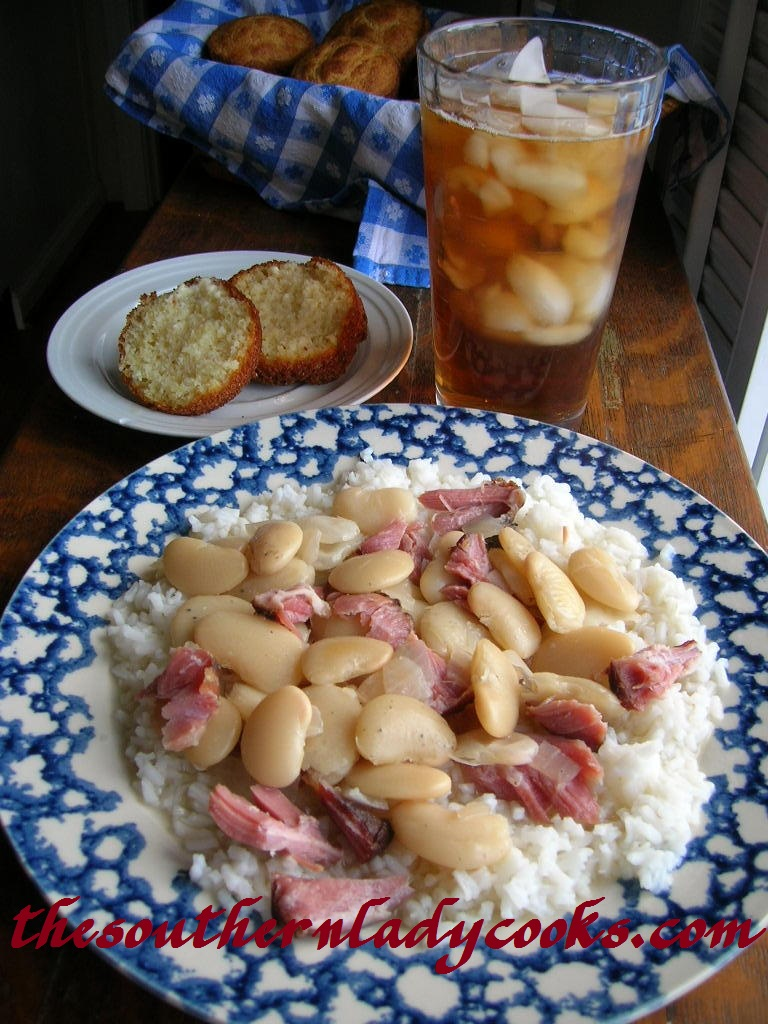 LIMA BEANS WITH HAM OVER RICE