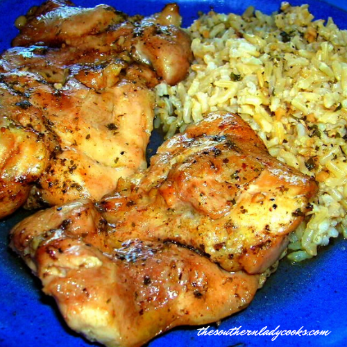 BAKED CHICKEN THIGHS WITH RICE