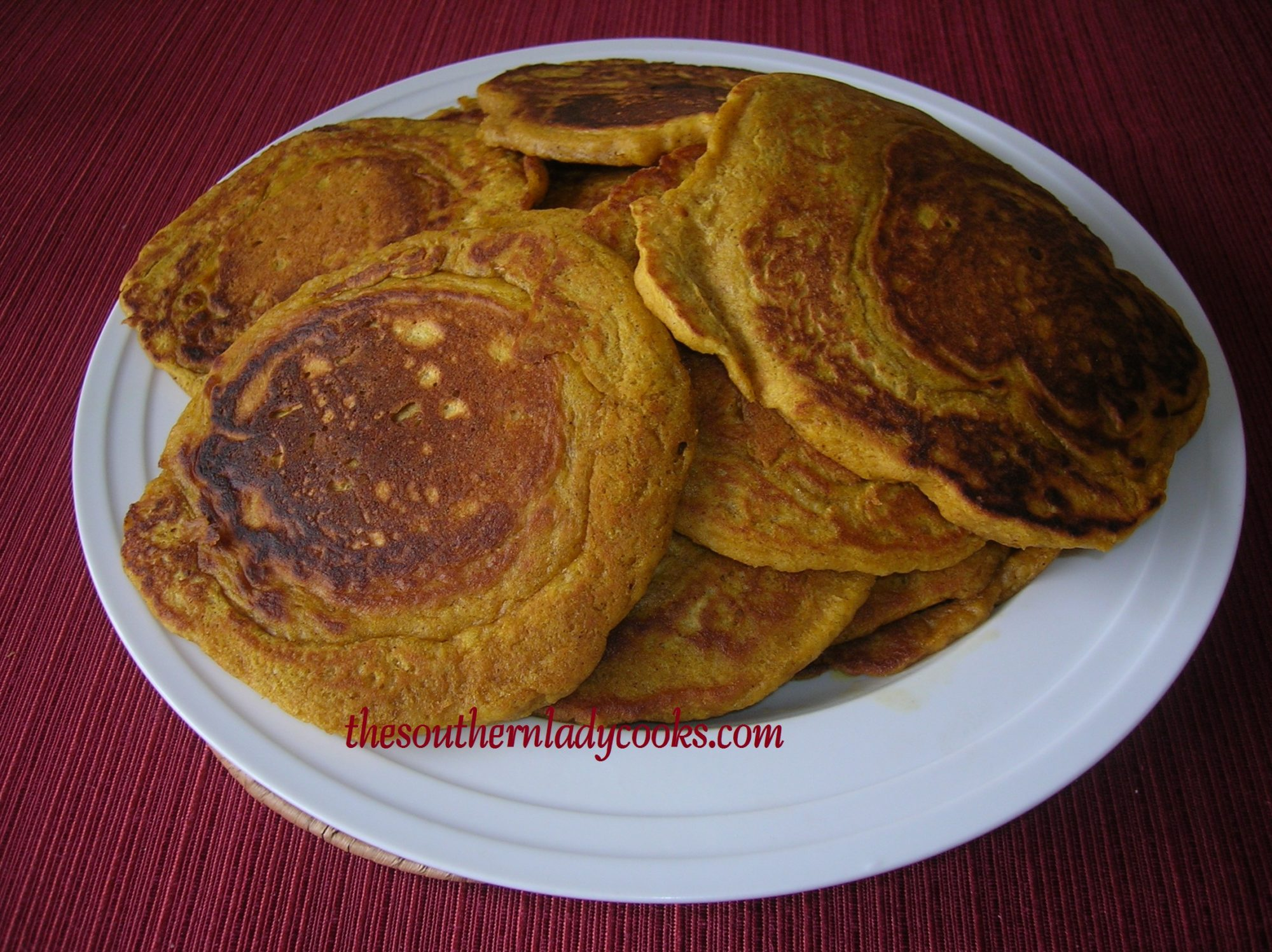 Spicy Pumpkin Pancakes with Cinnamon Syrup