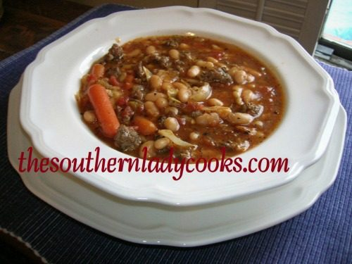 SLOW COOKER SAUSAGE,WHITE BEAN AND PASTA SOUP