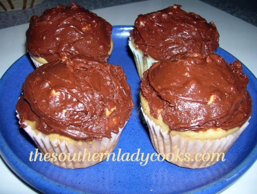 PEANUT BUTTER CUPCAKES WITH PEANUT BUTTER CHOCOLATE FROSTING