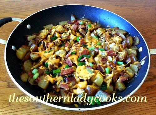 CHEESY BACON SKILLET FRIED TATERS