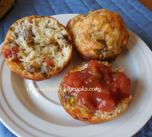 SAUSAGE AND PEPPERONI PIZZA MUFFINS