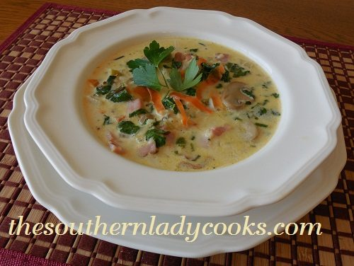 HAM, SPINACH AND RICE SOUP