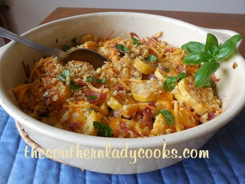 Cheesy Bacon Yellow Squash Casserole TSLC