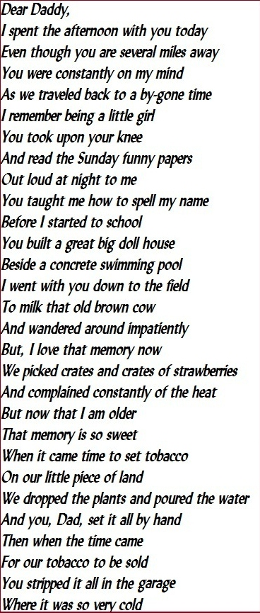 Poem written for my father, Robert Parker - Copy