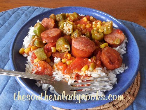 The Southern Lady Cooks – SMOKED SAUSAGE, TOMATOES AND OKRA SKILLET