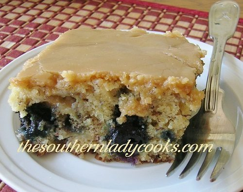 BLUEBERRY BANANA CAKE WITH CARAMEL FROSTING