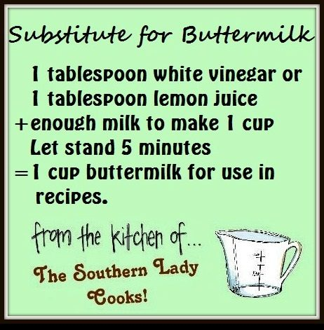 HANDY FOOD TIP – SUBSTITUTE FOR BUTTERMILK IN RECIPES
