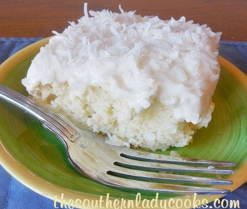 EASY SOUR CREAM COCONUT CAKE