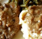 CROCK POT MUSHROOM AND ONION CHOPS WITH GRAVY