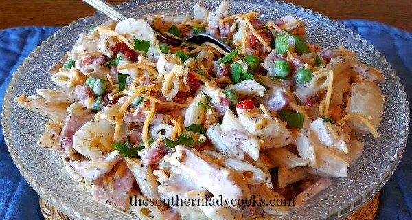 HAM, PASTA AND PEA SALAD by The Southern Lady Cooks